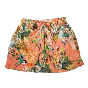 Zara Trafuluc Peach Tropical Tie Front Skirt S